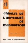 Annales de l'Université de Madagascar: Série Lettres et Sciences Humaines