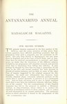 First Page (1876 Issue): The Antananarivo Annual and Madagas...