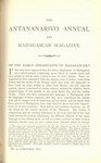 First Page (1877 Issue): The Antananarivo Annual and Madagas...