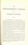 First Page (1878 Issue): The Antananarivo Annual and Madagas...