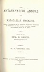 Titlepage (1882 Issue): The Antananarivo Annual and Madagas...