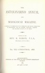 Titlepage (1883 Issue): The Antananarivo Annual and Madagas...