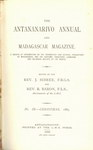Titlepage (1885 Issue): The Antananarivo Annual and Madagas...