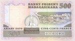 Back: Ariary Zato / 500 Francs