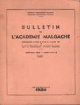 Front Cover: Bulletin de l'Académie Malgache: No...