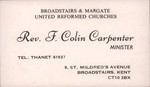 Front: Business card of Rev F. Colin Carpe...
