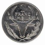 Back: 1 Malagasy Franc Coin: (1 Iraimbila...