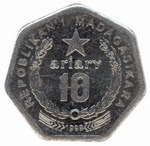 Back: 10 Ariary Coin: (50 Malagasy Francs...