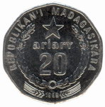 Back: 20 Ariary Coin: (100 Malagasy Franc...