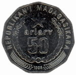 Back: 50 Ariary Coin: (250 Malagasy Franc...