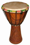 Front: Djembe Drum: Carved Palisander Wood