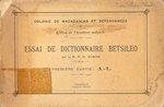 Front Cover: Essai de Dictionnaire Betsileo: Pre...