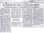 Le Pasteur Fety Michel n'a pas �t� arr�t�! Par contre, son domicile a �t� perquisitionn� hier par des gendarmes