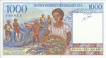 Back: 1000 Francs (Roan-Jato Ariary): Ban...