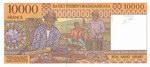 Back: 10000 Francs (Roa Arivo Ariary): Ba...