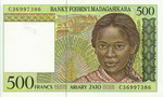 Front: 500 Francs (Ariary Zato): Banky Foi...