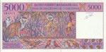 Back: 5000 Francs (Arivo Ariary): Banky F...