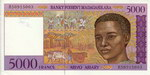 Front: 5000 Francs (Arivo Ariary): Banky F...