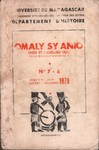 Front Cover: Omaly sy Anio (Hier et Aujourd'hui)...