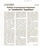 Politique d'Am?nagement Linguistique: La 'Cohabitation' Linguistique
