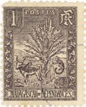 Zebu and Ravenala: 1-Centime Postage Stamp