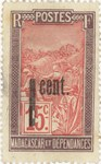Filanjana: 15-Centime Postage Stamp with 1-Centime Surcharge