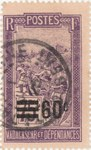 Filanjana: 75-Centime Postage Stamp with 60-Centime Surcharge