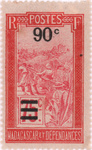 Filanjana: 75-Centime Postage Stamp with 90-Centime Surcharge