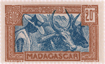 Zebu and Herdsman: 20-Centime Postage Stamp