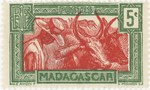 Zebu and Herdsman: 5-Centime Postage Stamp