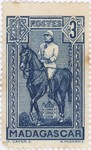 General Gallieni on Horseback: 3-Centime Postage Stamp