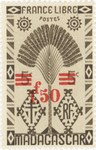 Ravenala Design: 5-Centime Postage Stamp with 2-Franc Surcharge