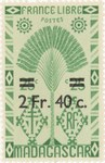 Ravenala Design: 25-Centime Postage Stamp with 2-Franc Surcharge