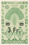 Ravenala Design: 25-Centime Postage Stamp with 3-Franc Surcharge