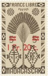 Ravenala Design: 5-Centime Postage Stamp with 1-Franc Surcharge