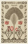 Ravenala Design: 5-Centime Postage Stamp with 70-Centime Surcharge