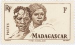 Sakalava Man and Woman: 1-Franc Postage Stamp