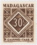Geometric Design: 30-Centime Postage Stamp