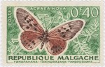 Acraea hova Butterfly: 0.40-Franc Postage Stamp
