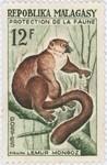 Front: Lemur mongoz: 12-Franc Postage Stam...