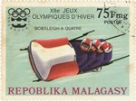 Four-man Bobsleigh, Winter Olympics: 75-Franc Postage Stamp
