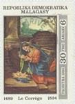 Antonio da Correggio's The Adoration of the Child: 30-Franc (6-Ariary) Postage Stamp