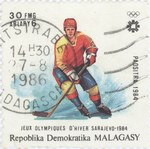 Ice Hockey, Winter Olympics: 30-Franc (6-Ariary) Postage Stamp