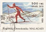 Cross-Country Skiing, Winter Olympics: 500-Franc (100-Ariary) Postage Stamp