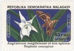Angraecum magdalenae Orchid and Nephele oenopion Hawk Moth: 45-Franc (9-Ariary) Postage Stamp
