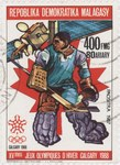 Ice Hockey, Winter Olympics: 400-Franc (80-Ariary) Postage Stamp