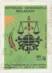 Universal Declaration of Human Rights: 80-Franc (16-Ariary) Postage Stamp