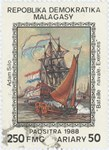 Battleships on Exercise: 250-Franc (50-Ariary) Postage Stamp