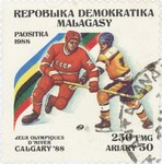 Ice Hockey, Winter Olympics: 250-Franc (50-Ariary) Postage Stamp