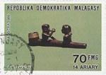 Sakalava Pipe: 70-Franc (14-Ariary) Postage Stamp